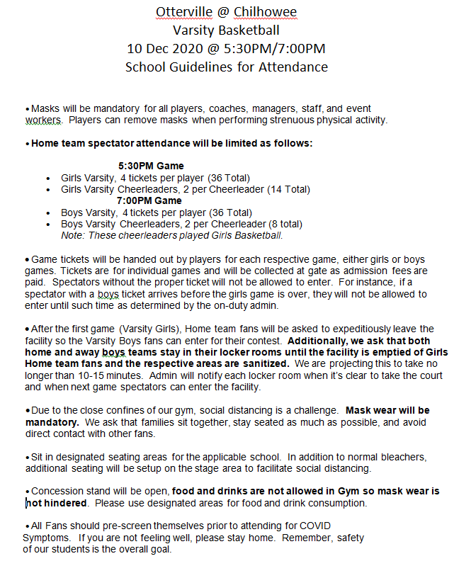 Chilhowee Indians Basketball - New Covid-19 Guidelines for Home Games